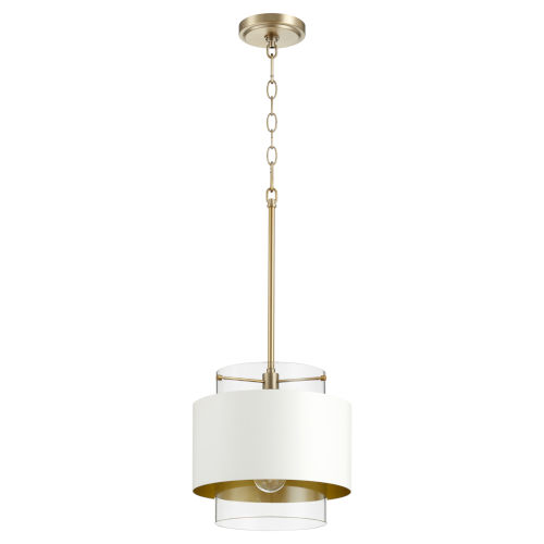Aged Brass and Studio White One-Light 11-Inch Pendant