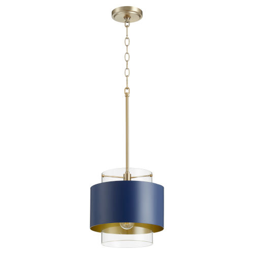 Aged Brass and Blue One-Light 11-Inch Pendant