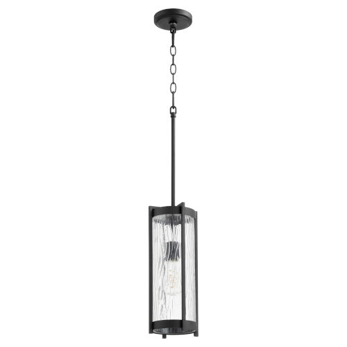 Noir and Clear Chisseled Glass One-Light 16-Inch Mini Pendant