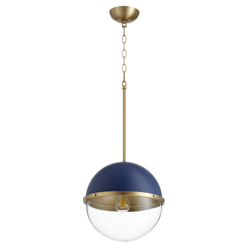 Blue and Aged Brass One-Light 15-Inch Pendant