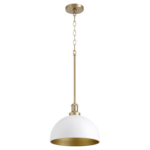 Studio White and Aged Brass One-Light 10-Inch Pendant