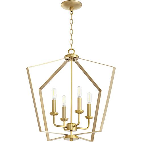 Aged Brass Four-Light Pendant