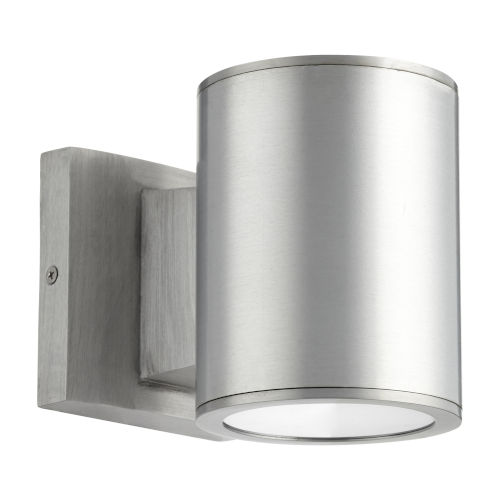 Cylinder Brushed Aluminum Two-Light LED Outdoor Wall Mount