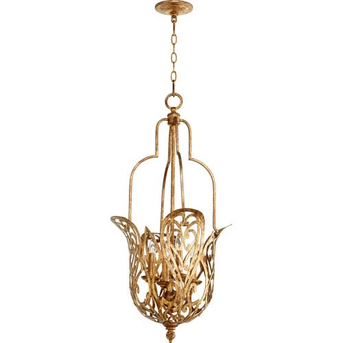 Le Monde Vintage Gold Leaf 16-Inch Four-Light Pendant