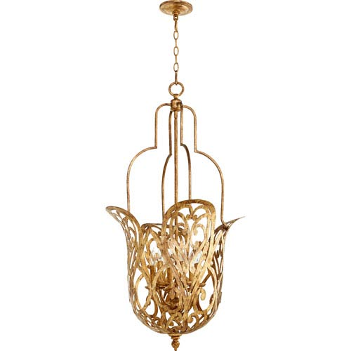 Le Monde Vintage Gold Leaf 21-Inch Six-Light Pendant