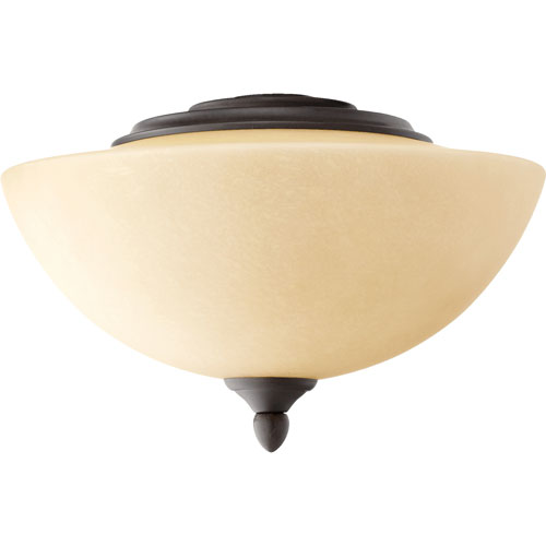 Quorum International Oiled Bronze Two Light Ceiling Fan Kit with Amber Scavo Glass
