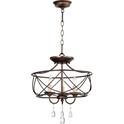 Cilia Oiled Bronze 16-Inch Three-Light Convertible Pendant