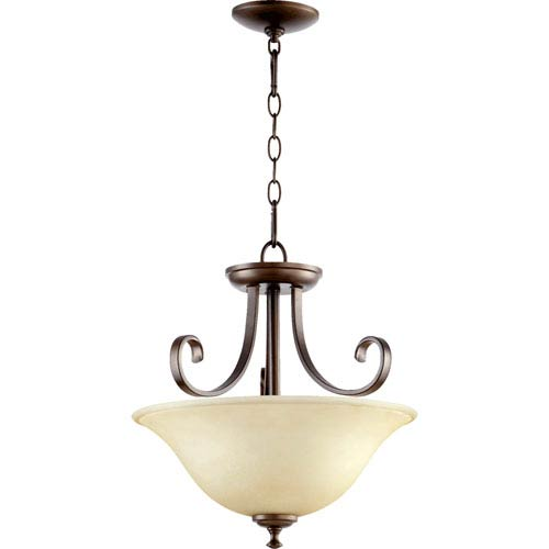 Quorum International Celesta Oiled Bronze Two Light Dual Mount Pendant with Amber Scavo Glass