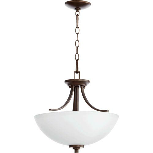 Quorum International Reyes Oiled Bronze Three Light Dual Mount Pendant with Satin Opal Glass