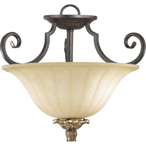 Capella Two-Light Toasted Sienna with Golden Fawn Convertible Pendant