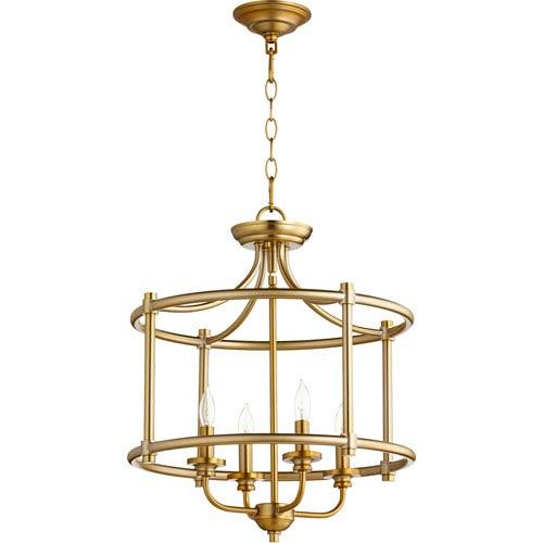 Rossington Aged Brass Four-Light 19-Inch Pendant