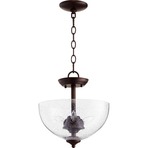 Oiled Bronze with Clear Seeded Glass Three-Light 12-Inch Pendant