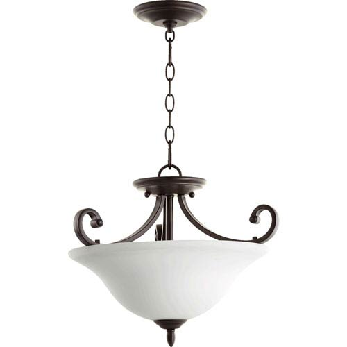 Bryant Oiled Bronze with Satin Opal Glass 18-Inch Three-Light Dual Mount Pendant
