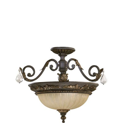 Rio Salado Three-Light Toasted Sienna with Mystic Silver Convertible Semi-Flush