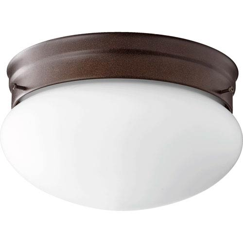 Quorum International Oiled Bronze with Satin Opal Two-Light 10-Inch Flush Mount
