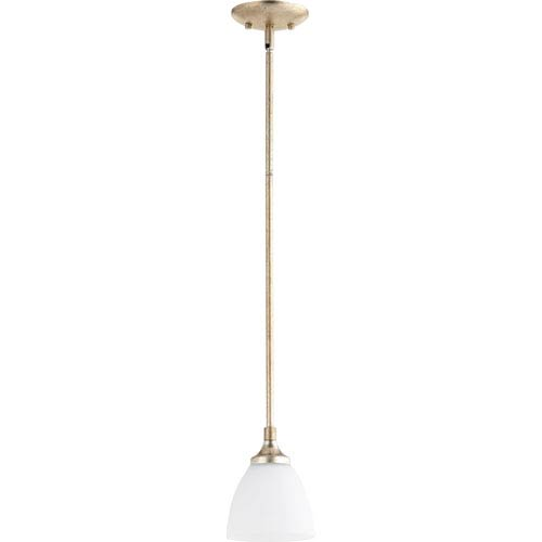 Quorum International Enclave Aged Silver Leaf One-Light 6-Inch Mini Pendant