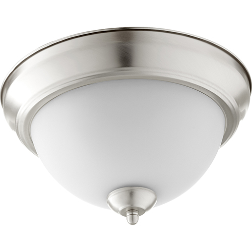 Quorum International Satin Nickel with Satin Opal Two-Light 11.5-Inch Ceiling Mount