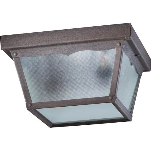 Rust One-Light 9-Inch Outdoor Flush Mount