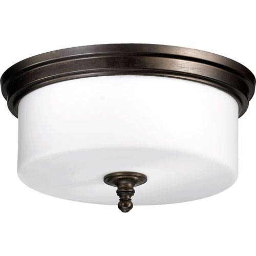 Rockwood Oiled Bronze Three-Light Flush Mount with Satin Opal Glass