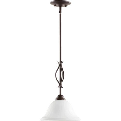 Quorum International Spencer Oiled Bronze with Satin Opal Glass One-Light Mini Pendant
