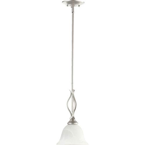 Quorum International Spencer Classic Nickel One Light Mini Pendant with Faux Alabaster Glass