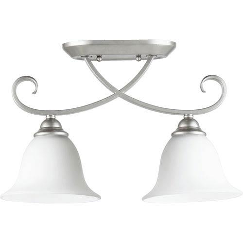 Quorum International Celesta Classic Nickel Two Light Sink Light Ceiling Mount with Satin Opal Glass