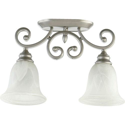 Quorum International Bryant Classic Nickel Two Light Sink Light Ceiling Mount with Faux Alabaster Glass