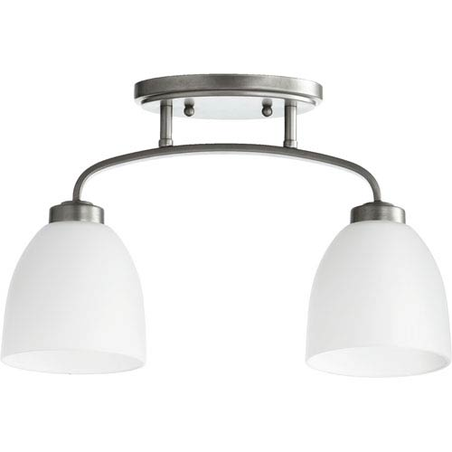 Quorum International Reyes Classic Nickel Two Light Sink Light Ceiling Mount with Satin Opal Glass