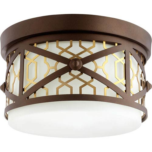 Renzo Aged Brass with Oiled Bronze Two-Light 12-Inch Flush Mount