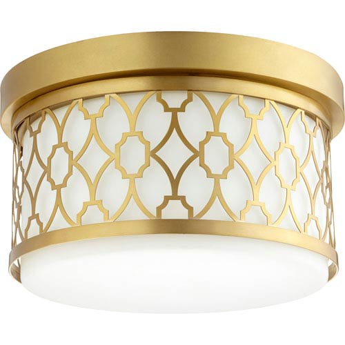 Aged Brass Two-Light 12-Inch Flush Mount