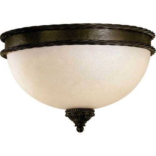 Alameda Three-Light Oiled Bronze with Antique Gold Flush Mount