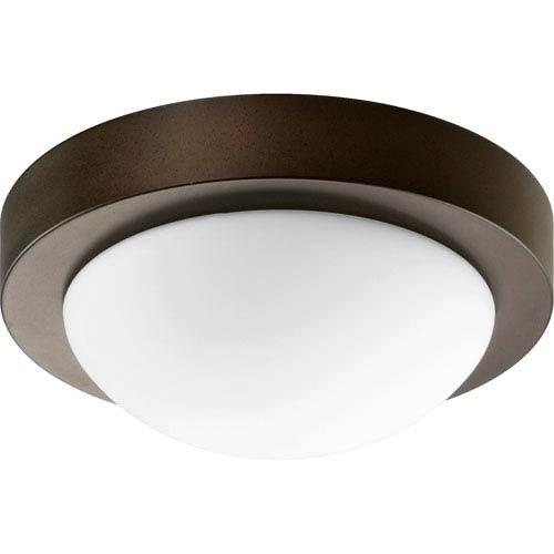 Quorum International Oiled Bronze Energy Saving One Light Flush Mount