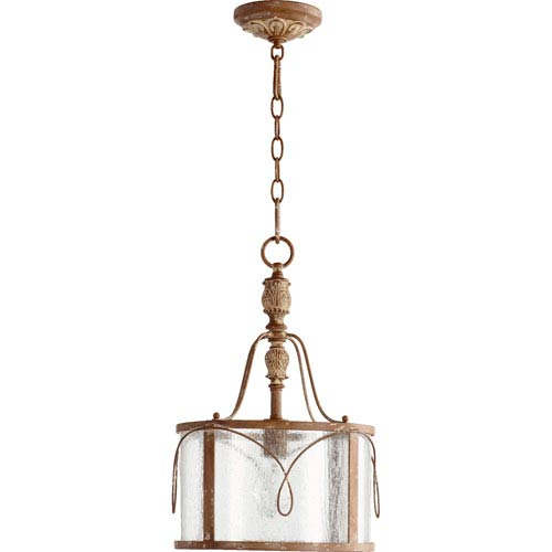 Salento French Umber One Light Pendant with Clear Seeded Glass