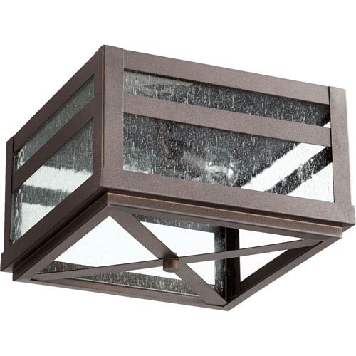 Quorum International Clermont Oiled Bronze Two-Light Outdoor Flush Mount