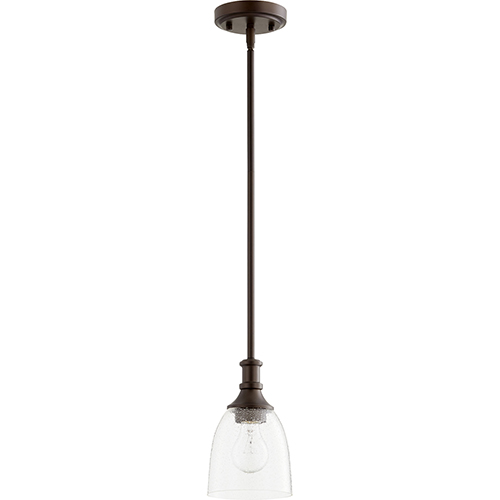 Quorum International Richmond Oiled Bronze One-Light 5.25-Inch Mini Pendant with Clear Seeded Glass