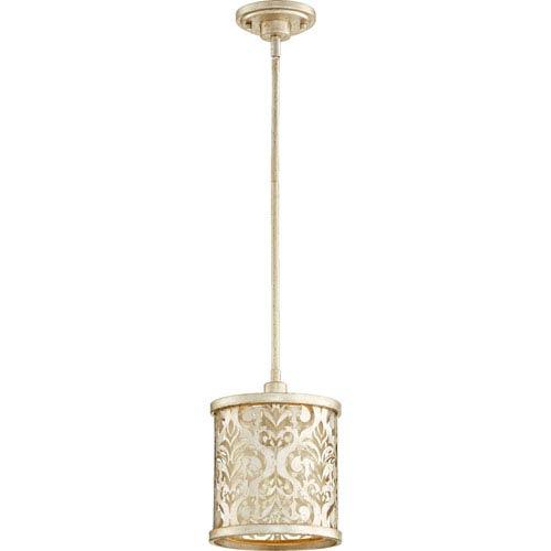 Quorum International Bastille Aged Silver Leaf One-Light Mini Pendant