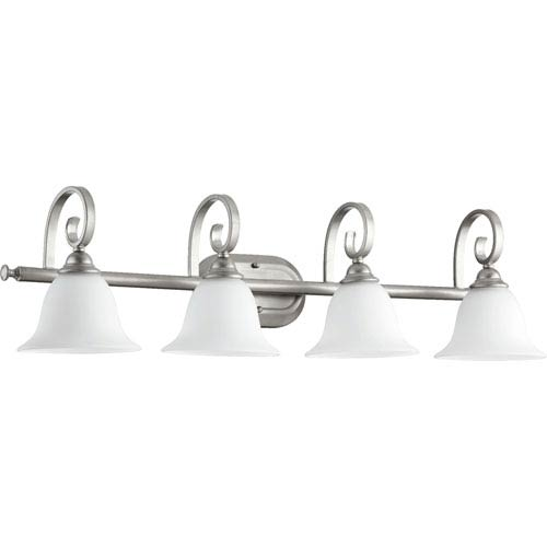 Quorum International Celesta Classic Nickel Four Light Vanity Fixture with Satin Opal Glass