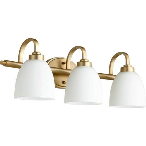 Quorum International Reyes Aged Brass Three-Light 25-Inch Vanity