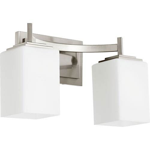 Quorum International Delta Satin Nickel Two-Light Bath Fixture with Satin Opal Glass