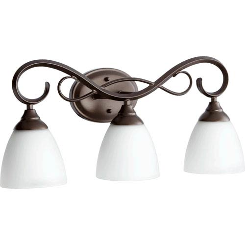 Quorum International Powell Oiled Bronze Three Light Vanity Fixture with Satin Opal Glass
