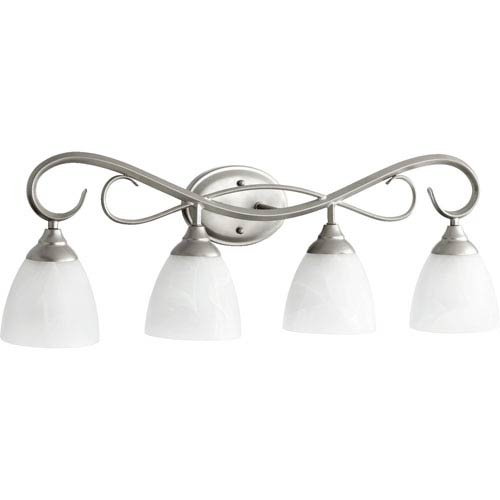Quorum International Powell Classic Nickel Four Light Bath Vanity Fixture with Faux Alabaster Glass