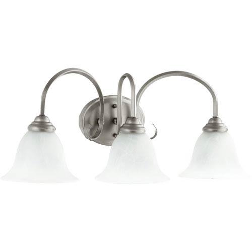 Quorum International Spencer Classic Nickel Three Light Vanity Fixture with Faux Alabaster Glass