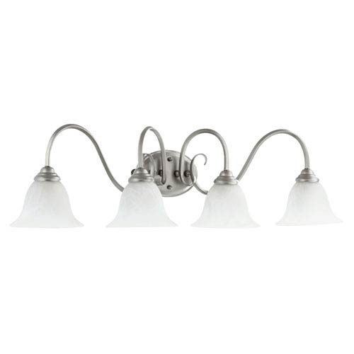 Quorum International Spencer Classic Nickel Four Light Bath Vanity Fixture with Faux Alabaster