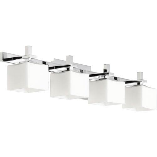 Chrome 5.25-Inch Four Light Vanity Fixture with Satin Opal Glass