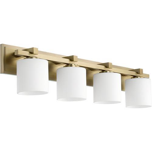 Aged Brass Four-Light 33-Inch Bath Vanity
