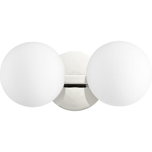 Quorum International Polished Nickel Two-Light 14-Inch Bath Vanity
