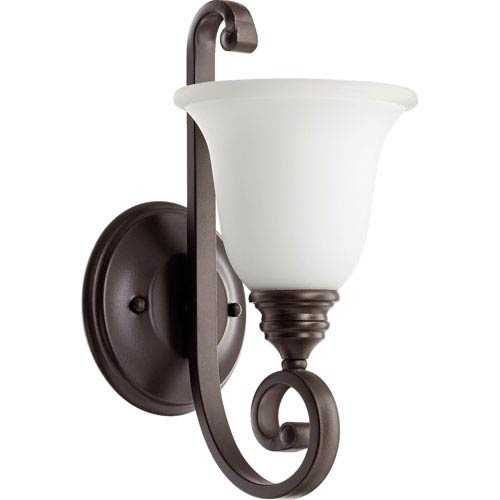 Quorum International Bryant Oiled Bronze with Satin Opal Glass One-Light Wall Sconce