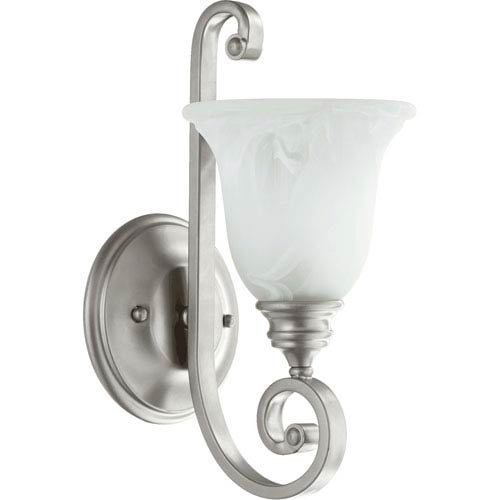 Quorum International Bryant Classic Nickel One Light Wall Mounted Fixture with Faux Alabaster Glass