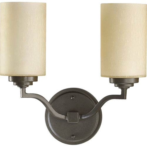 Quorum International Atwood Two-Light Oiled Bronze with Antique Gold Sconce
