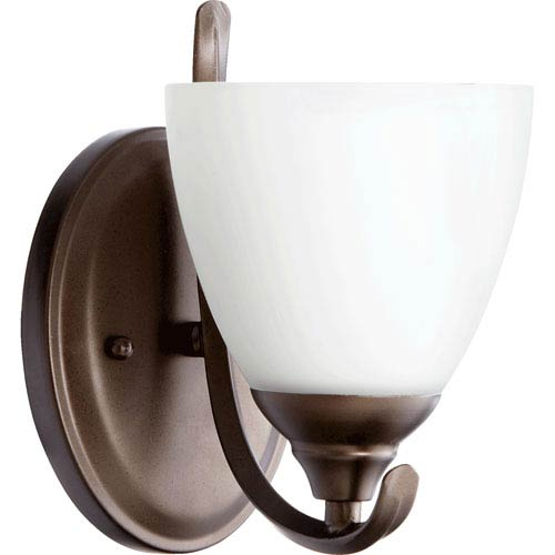 Quorum International Powell Oiled Bronze One Light Wall Mounted Fixture with Satin Opal Glass